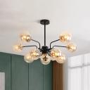 Spherical Living Room Ceiling Chandelier Amber Glass 10 Heads Modernism Hanging Light Fixture