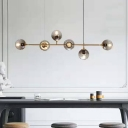 Contemporary 6 Heads Island Light Gold Spherical Pendant Lighting Fixture with Smoked Glass Shade