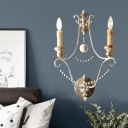 Wood White Sconce Light Fixture Candle-Style 7