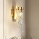 1/2 Lights Crystal Wall Sconce Traditionalist Gold Cascading Living Room LED Wall Mounted Light