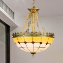 Tiffany Grid Patterned Chandelier 3 Bulbs Multicolored Stained Glass Pendant Light in Yellow, 12