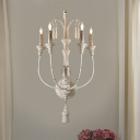 Wood White/Gray Wall Mounted Light Fixture Candle 3/4 Lights Countryside Sconce for Living Room