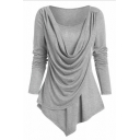 Fashion Women's Long Sleeve Round Neck Draped Patched Ruched Asymmetric Hem Relaxed Plain Tee