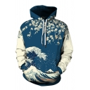 Blue Cartoon Floral and Sea Wave 3D Pattern Color-Block Long Sleeve Relaxed Hoodie