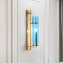 Modernism Cylindrical Wall Lamp Blue Glass 1 Bulb Living Room Sconce Light Fixture