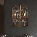 Metal Birdcage Wall Mounted Lamp Industrial 2 Heads Bedroom Sconce Light Fixture in Rust with Crystal Accent