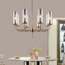 Cognac Glass Cylinder Ceiling Chandelier Modern 8 Heads Hanging Pendant Light with Metal Curved Arm