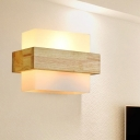 Wood Frame Wall Lighting Contemporary 1 Head Beige Sconce Light Fixture for Living Room