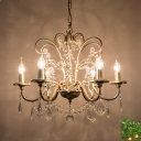 Crystal Scrolled Arm Chandelier Lighting Fixture Simple 3/6/8 Lights Dining Room Hanging Light Kit in Gold