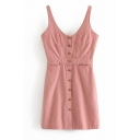 Fancy Girls' Pink Sleeveless Button Down Short A-Line Cami Dress