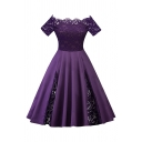 Trendy Ladies' Short Sleeve Off The Shoulder Lace Patched Plain Long Pleated Swing Dress