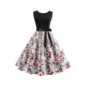 Retro Women's Sleeveless Round Neck Bow Tie Waist All Over Floral Print Patched Mid Pleated Swing Dress