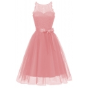 Boutique Special Occasion Sleeveless Round Neck Bow Tie Waist Semi-Sheer Lace Patched Bi-Layer Mid Plain Pleated Flared Dress for Women