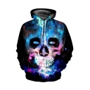 Colorful Galaxy Skull 3D Pattern Long Sleeves Relaxed Fit Black Pullover Hoodie