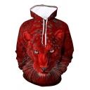 Burgundy Leopard Animal 3D Printed Long Sleeves Loose Casual Hoodie
