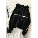 Fashionable Girls' Long Sleeve Drawstring Contrast Piped Loose Hoodie