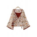 Women's Pretty Apricot Bell Sleeve Surplice Neck All Over Floral Print Bow Tie Relaxed Blouse Top with Cami Top