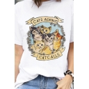 Cute Letter CATS AGAINST CATCALLS Printed Short Sleeve Loose Summer T-Shirt