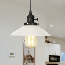 Milk Glass Cone Pendant Light Fixture Industrial Style 1 Light Black/Bronze/Brass Ceiling Light with Adjustable Cord
