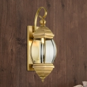 Curved Arm Porch Sconce Light Traditionalism Metal 1/3-Bulb Brass Wall Light Fixture, 7.5