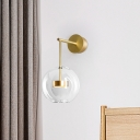 Minimalist Global Wall Lamp Kit Clear Glass 1 Light Golden Sconce Lighting Fixture