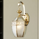 Lantern Metal Wall Sconce Traditional 1 Bulb Outdoor Wall Lighting Fixture in Brass