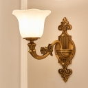 Brass 1/2-Bulb Wall Mount Lighting Traditional Style Frosted Glass Flared Shade Wall Sconce for Corridor
