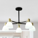 Domed Chandelier Lighting Fixture Modern Style Frosted White Glass 5/6/8 Lights Gold Hanging Lamp Kit