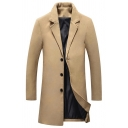 Mens Simple Plain Notched Collar Long Sleeve Button Front Longline Wool Coat