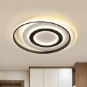 White-Black Circle Flush Mount Light Modern Acrylic LED Ceiling Light Fixture in Warm/White Light, 18