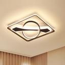 Traverse Acrylic Ceiling Light Fixture Modernism Black LED Flush Mount Lighting in Warm/White Light, 16