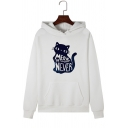Creative Letter MEOW OR NEVER Cat Pattern Long Sleeve Pouch Pocket Drawstring Hoodie