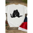 Womens Lovely Black Cat Hug Pattern Long Sleeve Round Neck Loose Pullover Sweatshirt