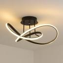 Black Spiral Flush Light Fixture Contemporary Acrylic 19.5