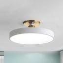 White Disk Flush Mount Lamp Modern Acrylic 12