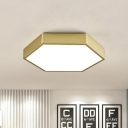 Hexagon Bedroom Flush Mount Lighting Metal Contemporary 16