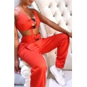 Sexy Fashion Whole Colored Push Buckle Embellished Cutout Cami Top & Pants Set