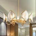 Curved Arm Chandelier Lighting Postmodern Crystal Block 6/8 Heads Gold Hanging Light Fixture