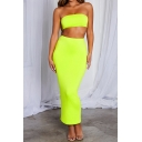 Solid Color Bandeau Cropped Top with Maxi Fitted Skirt Two Piece Sexy Co-ords