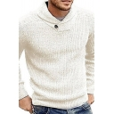 Mens Simple Plain Shawl-Collar Long Sleeve Leisure Knit Pullover Sweater