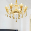 Candle Hanging Chandelier Contemporary Crystal 8/10 Lights Living Room Ceiling Pendant in White