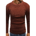 Classic White Striped Long Sleeve Round Neck Slim Fit Pullover Sweater Knitwear
