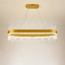 Modern Oval Shaped Ceiling Chandelier Crystal LED Living Room Pendant Lighting in Gold