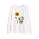 Cozy Cute Girls' Long Sleeve Round Neck Sunflower Elephant Print Boxy Pullover Sweatshirt