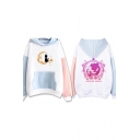 Girls' Harajuku Fashion Long Sleeve SAILOR MOON Letter Kitty and Girl Patterned Kangaroo Pocket Contrasted Oversize Tunic Hoodie in White