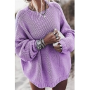 Trendy Street Ladies' Batwing Sleeve Crew Neck Oversize Chunky Knit Plain Pullover Sweater Top