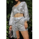 Plain Silver Glitter Long Sleeve V-Neck Cropped Top with Tie Front Shorts Nightclub Co-ords