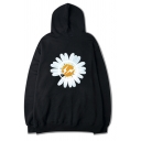 Kpop Girls' Street Long Sleeve Drawstring Daisy Flower Patterned Kangaroo Pocket Oversize Boyfriend Hoodie in Black