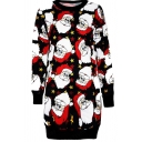 Cute Christmas Element Santa Hat Printed Long Sleeve Fitted Longline Pullover Sweatshirt