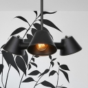 Conic Metal Hanging Chandelier Light Industrial Style 3 Heads Black Finish Pendant Lamp for Dining Room